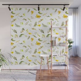 Tropical yellow green watercolor modern leaves floral Wall Mural