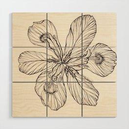 Floral Ink Illustration Wood Wall Art