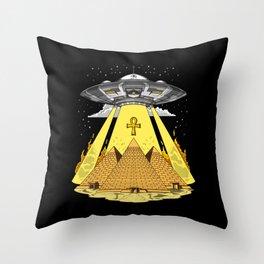Alien Abduction Egyptian Pyramids Anunnaki UFO Throw Pillow