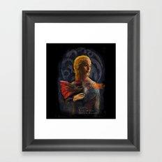 la dame au dragon Framed Art Print
