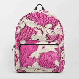 pink lace-photograph of vintage lace Backpack