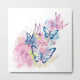 Butterflies in Flight Metal Print