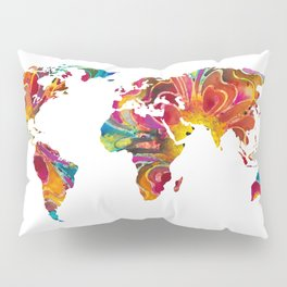 Map of The World 2 -Colorful Abstract Art Pillow Sham