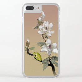 Magnolia and Tree Frog Clear iPhone Case