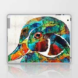 Colorful Wood Duck Art by Sharon Cummings Laptop & iPad Skin