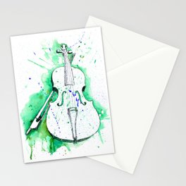 Water Color Violin (Teal) Stationery Cards