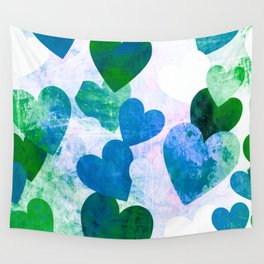 Fab Green & Blue Grungy Hearts Design Wall Tapestry