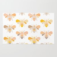 bees Area & Throw Rugs featuring Bees by Heleen van Buul