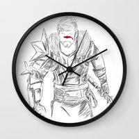 dragon age Wall Clocks featuring (Dragon Age 2) Hawke by  Steve Wade ( Swade)