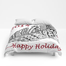Holiday Greeting Pen and Ink Zentangle Comforters