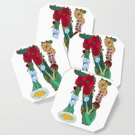 Floral Letter N Coaster