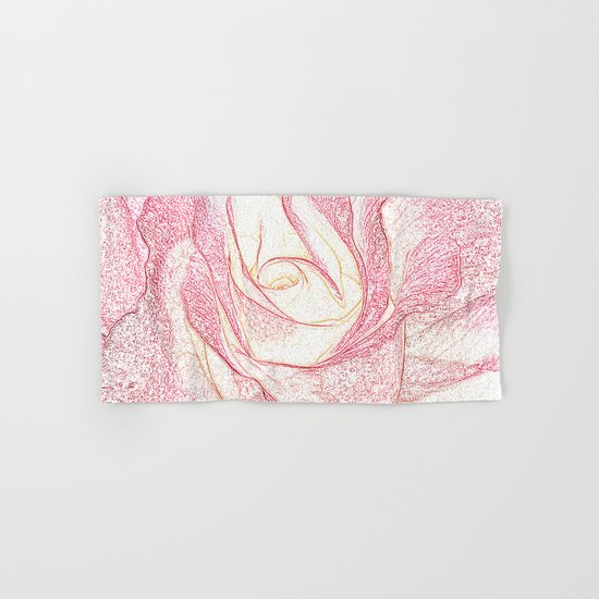 Summer Rose Pencil on White Hand & Bath Towel