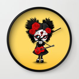 Red and Yellow Big Eyes Sugar Skull Girl Playing the Guitar Wall Clock