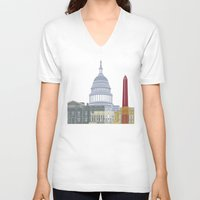 washington dc V-neck T-shirts featuring Washington DC skyline poster by Paulrommer