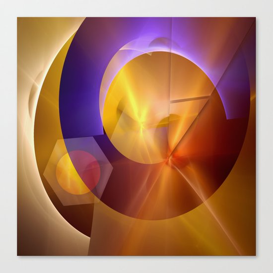 Modern abstract with a golden glow Canvas Print