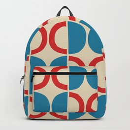 Mid Century Modern Half Circle Pattern 528 Beige Red and Cyan Backpack