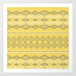 Pantone Yellow Grey Tribal  Art Print