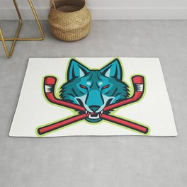 Coyote Ice Hockey Sports Mascot Rug
