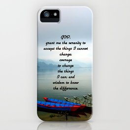 Serenity Prayer With Phewa Lake Panoramic View iPhone Case