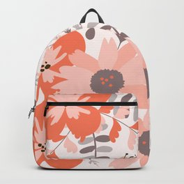 Big Flowers in Pink and Coral Red Backpack