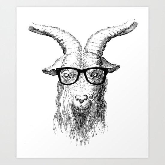 Hipster Goat Art Print