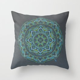 Blue and Green Mandala Throw Pillow