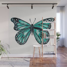 Turquoise Butterfly Wall Mural