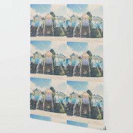 beach huts photograph Wallpaper