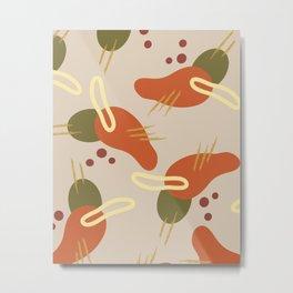 Mid century modern hummingbird pattern Metal Print