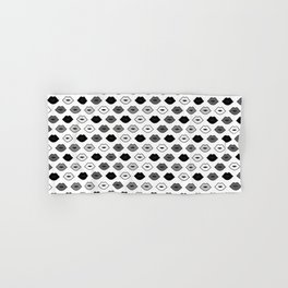 Chessboard Lips - Black and White Hand & Bath Towel