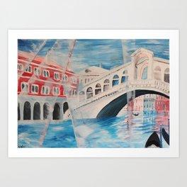Enlighted Rialto bridge in Venice Art Print