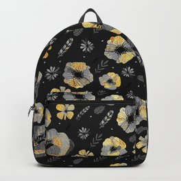Charcoal & Gold Floral Pattern Backpack