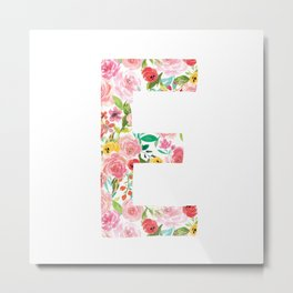 E botanical monogram. Letter initial with colorful watercolor flowers Metal Print