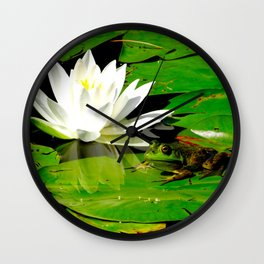 Frog with lily flower reflection Wall Clock