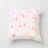 Leaves in Sunset Throw Pillow