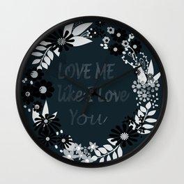 Love me . Dark background . Wall Clock