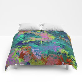 Messy Art I - Abstract, paint splatter painting, random, chaotic and messy artwork Comforters