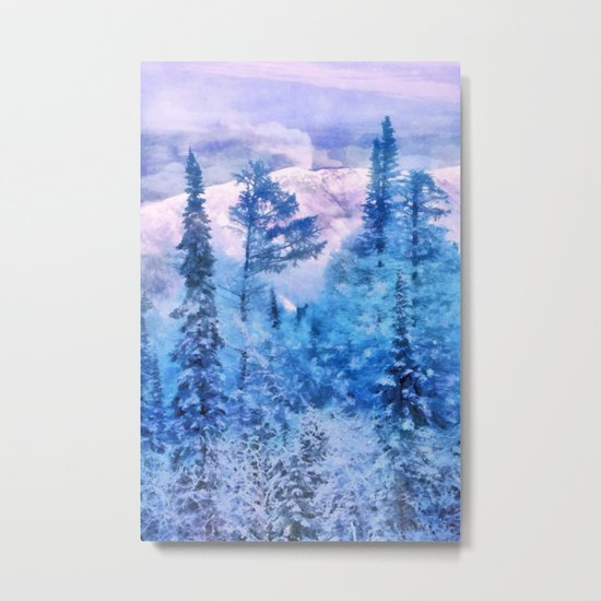 Winter forest in mountains Metal Print