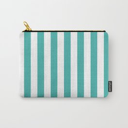 Narrow Vertical Stripes - White and Verdigris Carry-All Pouch