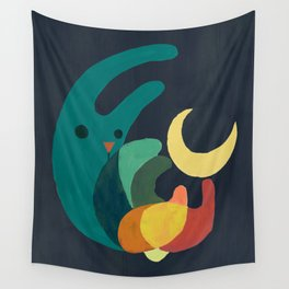 Rabbit and crescent moon Wall Tapestry