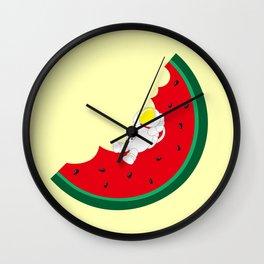 Space Odyssey | Astronaut Watermelon | Fruit | Summer | Watermelon Moon | pulp of wood Wall Clock