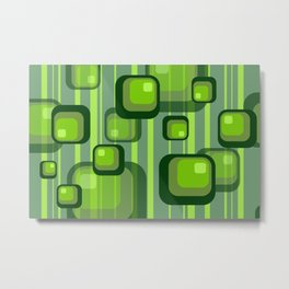 Vintage Rectangles green with stripes Metal Print