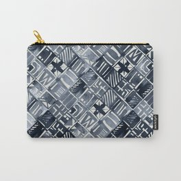 Simply Tribal Tiles in Indigo Blue on Lunar Gray Carry-All Pouch