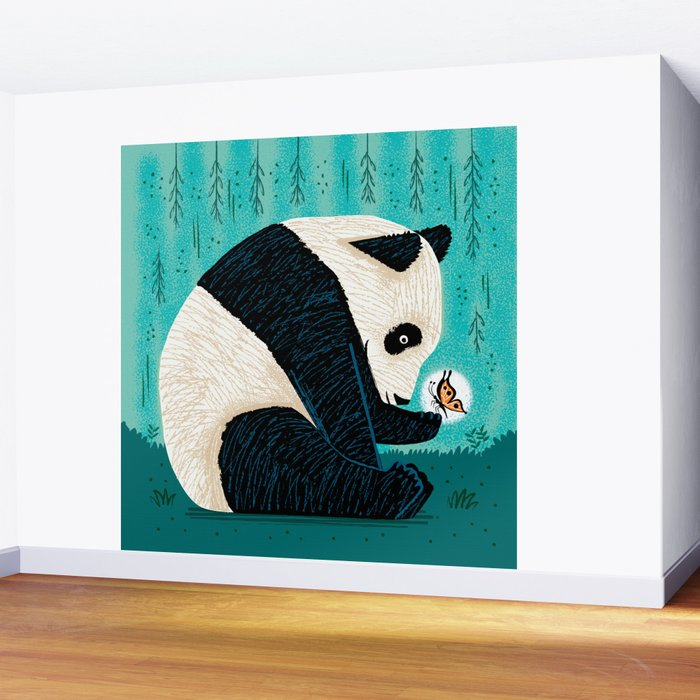 The Panda and The Butterfly - turquoise version Wall Mural