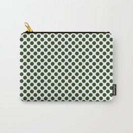 Large Dark Forest Green Polka Dot Spots on White Carry-All Pouch