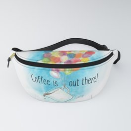 Up with Coffee Aventure Watercolor Fanny Pack