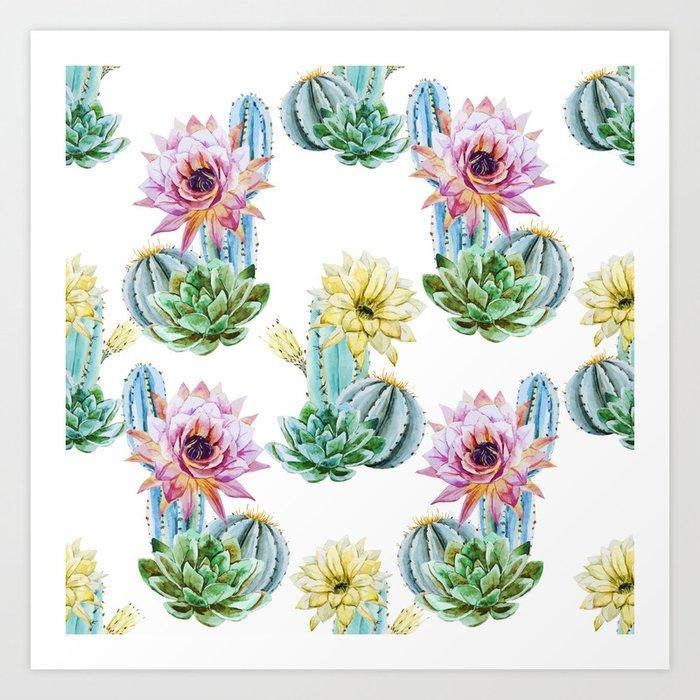 Cactus Pattern 06 Art Print