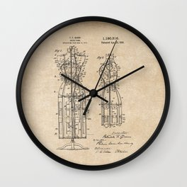 Vintage Dress Form Patent Drawing - Industrial Decor - Sewing - Vintage Design Wall Clock