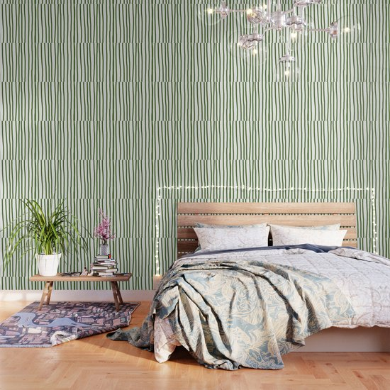 Simply Drawn Vertical Stripes in Jungle Green by followmeinstead