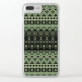 Colorful tribal green black ornament . Clear iPhone Case